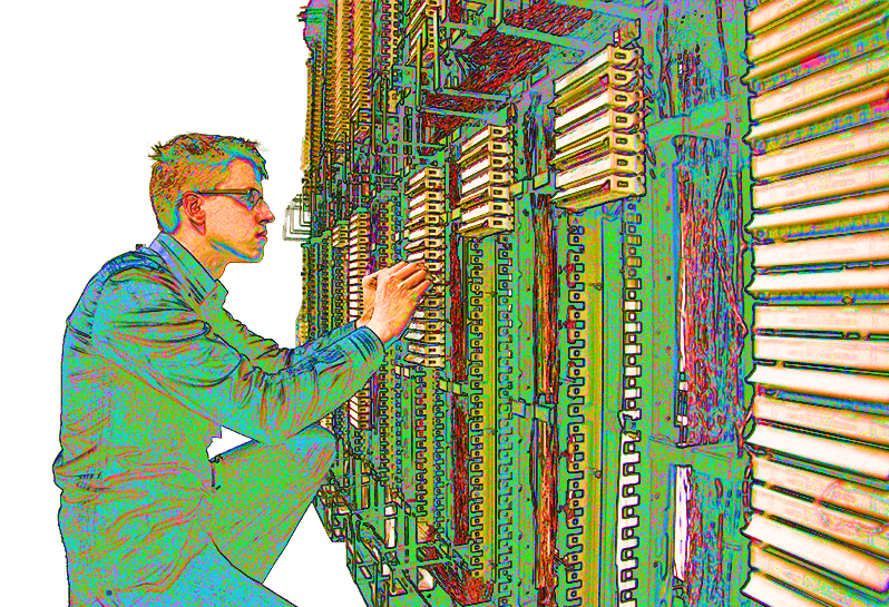 IT student inspecting a server during Indiana job training.