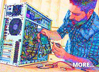 IT student getting hands-on vocational IT training replacing computer CPU components